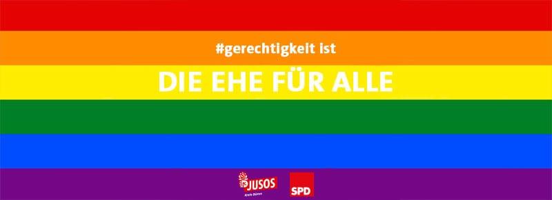 LGBT Flagge mit JUSO und SPD Logo